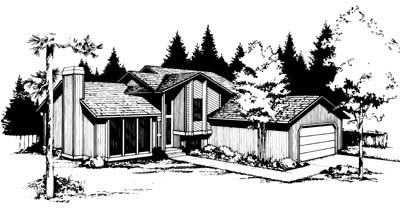 Contemporary Elevation of Plan 91664