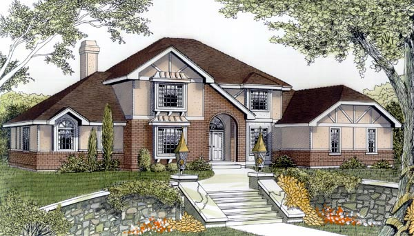 European Tudor House Plan 91669 Elevation