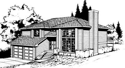 Contemporary Southwest Elevation of Plan 91671
