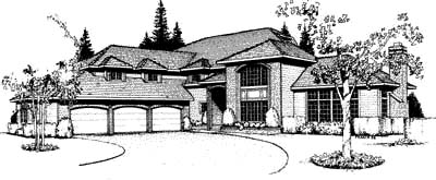Country, European, Southwest, Traditional House Plan 91680 with 4 Beds, 3 Baths, 3 Car Garage Elevation