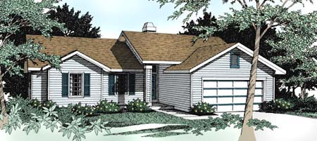 Country Ranch Traditional House Plan 91689 Elevation