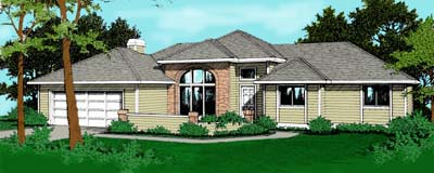 Southwest Traditional Elevation of Plan 91696
