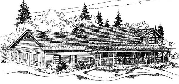 Country Ranch House Plan 91701 Elevation