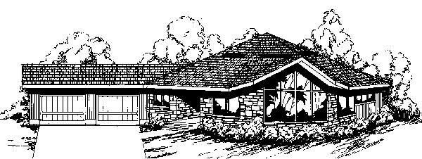 Contemporary Ranch House Plan 91705 Elevation