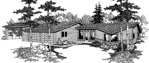 Ranch House Plan 91741 Elevation