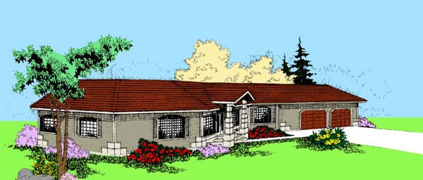 Ranch House Plan 91745 Elevation