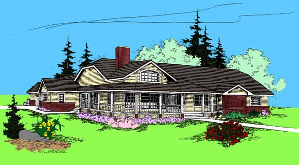 Country Ranch House Plan 91750 Elevation