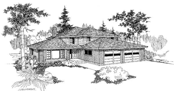 Prairie Style Southwest House Plan 91754 Elevation