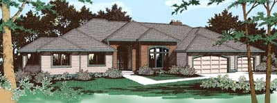 Traditional House Plan 91809 with 4 Beds, 3 Baths, 3 Car Garage Elevation