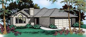 House Plan 91810 | Contemporary Traditional Style Plan with 1689 Sq Ft, 3 Bedrooms, 2 Bathrooms, 2 Car Garage Elevation