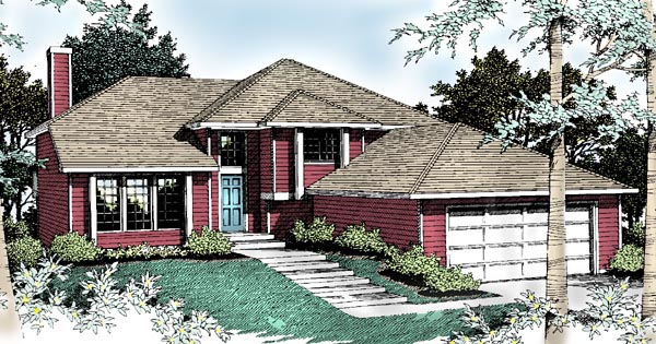 Contemporary, Southwest, Traditional House Plan 91812 with 4 Beds, 3 Baths, 2 Car Garage Elevation