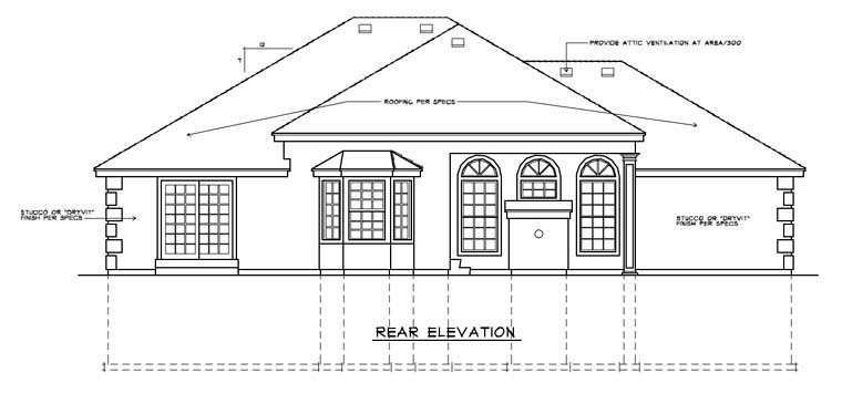 Mediterranean House Plan 91814 Rear Elevation