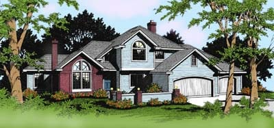 Colonial, Traditional House Plan 91815 with 4 Beds, 3 Baths, 3 Car Garage Front Elevation