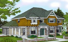 Traditional , Bungalow House Plan 91824 with 4 Beds, 3 Baths, 3 Car Garage Elevation