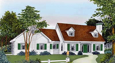 Cape Cod Country Farmhouse House Plan 91828 Elevation