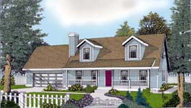 House Plan 91830 | Cape Cod Country Farmhouse Style Plan with 1757 Sq Ft, 3 Bedrooms, 3 Bathrooms, 2 Car Garage Elevation