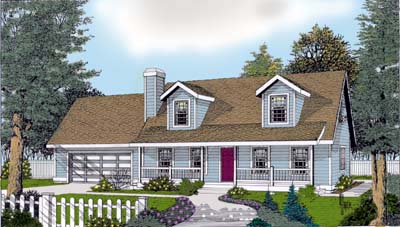 Cape Cod Country Farmhouse Elevation of Plan 91830
