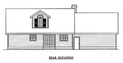 House Plan 91830 | Cape Cod Country Farmhouse Style Plan with 1757 Sq Ft, 3 Bedrooms, 3 Bathrooms, 2 Car Garage Rear Elevation