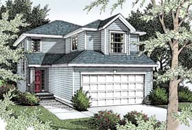 House Plan 91831 | Colonial Traditional Style Plan with 1398 Sq Ft, 3 Bedrooms, 3 Bathrooms, 2 Car Garage Elevation