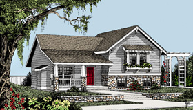 Craftsman , Country , Bungalow House Plan 91839 with 3 Beds, 2 Baths Elevation