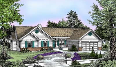 Country Ranch Traditional House Plan 91840 Elevation