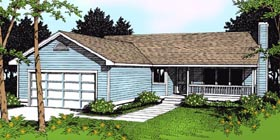 Country Ranch Traditional House Plan 91844 Elevation