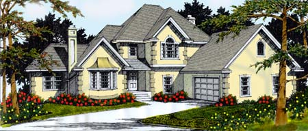 Country, European, Mediterranean House Plan 91845 with 4 Beds, 3 Baths, 2 Car Garage Elevation