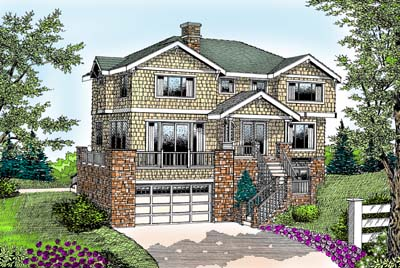 Country, Craftsman House Plan 91855 with 4 Beds, 3 Baths, 3 Car Garage Elevation