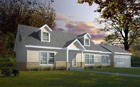 Cape Cod , Country House Plan 91858 with 3 Beds, 2 Baths, 2 Car Garage Elevation