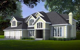 House Plan 91861 | Country European Style Plan with 3793 Sq Ft, 4 Bedrooms, 5 Bathrooms, 3 Car Garage Elevation