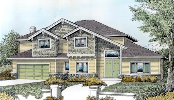 Bungalow Contemporary Craftsman House Plan 91868 Elevation