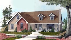 House Plan 91870 | Country Style Plan with 1492 Sq Ft, 3 Bedrooms, 2 Bathrooms, 2 Car Garage Elevation