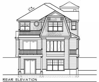 Cape Cod , Narrow Lot , Rear Elevation of Plan 91873