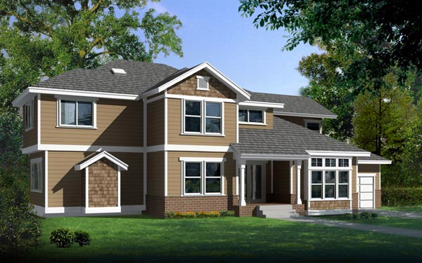 Contemporary Craftsman Traditional House Plan 91879 Elevation