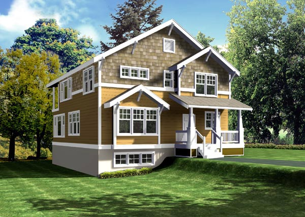 Bungalow, Craftsman, Narrow Lot House Plan 91880 with 5 Beds, 3 Baths, 1 Car Garage Elevation