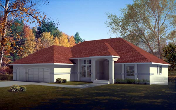 Mediterranean One-Story Elevation of Plan 91882