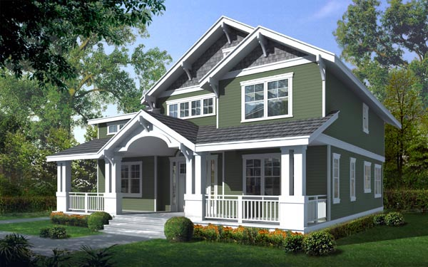 House Plan 91885 | Bungalow Craftsman Style Plan with 2615 Sq Ft, 5 Bedrooms, 3 Bathrooms, 4 Car Garage Elevation