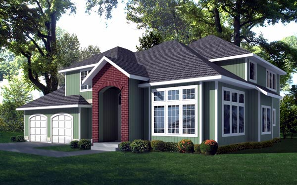 Contemporary, Traditional House Plan 91892 with 3 Beds, 3 Baths, 2 Car Garage Elevation
