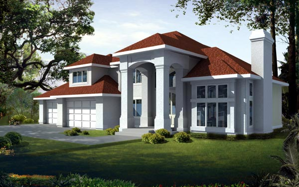 Mediterranean , European House Plan 91894 with 4 Beds, 3 Baths, 4 Car Garage Elevation