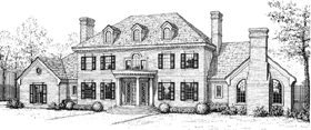 House Plan 92201 | Colonial French Country Style Plan with 4496 Sq Ft, 5 Bedrooms, 4 Bathrooms Elevation