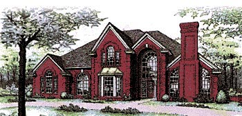 European, French Country, Tudor House Plan 92202 with 4 Beds, 4 Baths, 3 Car Garage Elevation