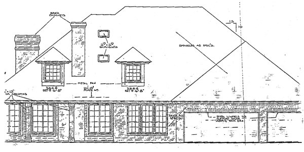 European French Country Tudor Rear Elevation of Plan 92202