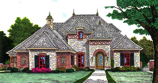 House Plan 92204 | European Style Plan with 2700 Sq Ft, 4 Bedrooms, 4 Bathrooms, 3 Car Garage Elevation