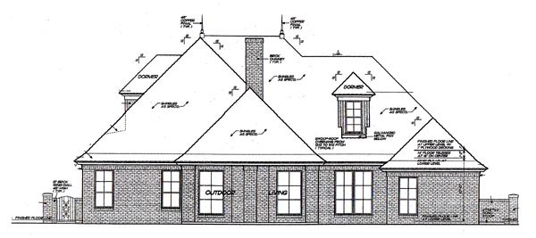 European House Plan 92204 Rear Elevation
