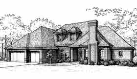 European , French Country House Plan 92207 with 4 Beds, 4 Baths, 3 Car Garage Elevation