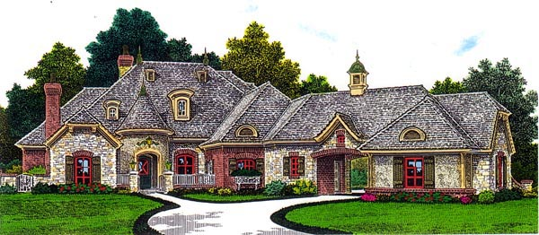 House Plan 92208 | European Style Plan with 2557 Sq Ft, 3 Bedrooms, 4 Bathrooms, 3 Car Garage Elevation