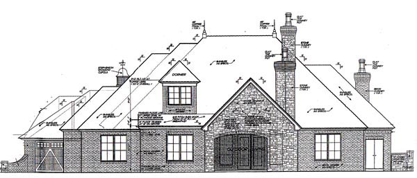 House Plan 92208 | European Style Plan with 2557 Sq Ft, 3 Bedrooms, 4 Bathrooms, 3 Car Garage Rear Elevation
