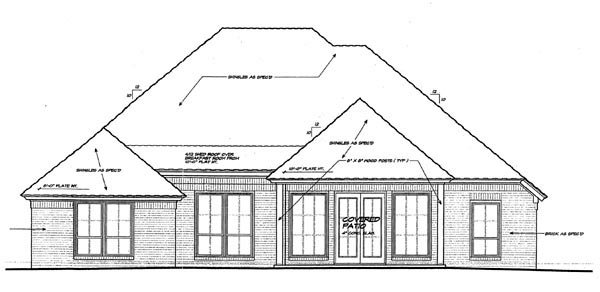 European House Plan 92211 Rear Elevation