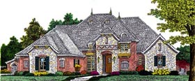 European, French Country House Plan 92212 with 4 Beds, 4 Baths, 3 Car Garage Elevation