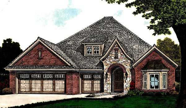 Country European House Plan 92215 Elevation